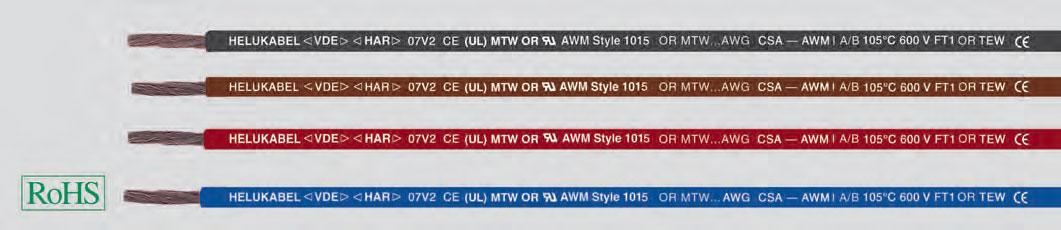 ПВХ провода, UL-Style 1015/UL-Standart 1063, 600В, 105°C