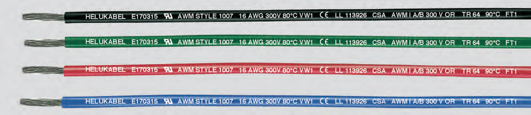 300 Отдельные ПВХ-жилы, сертифицированы UL-CSA, 80°C